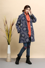 2015 Winter chinese style retro print frog women windbreaker cotton linen cotton-padded jacket dust trench coat