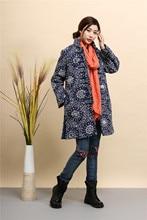 2015 Winter chinese style retro print frog women windbreaker cotton linen cotton padded jacket dust trench
