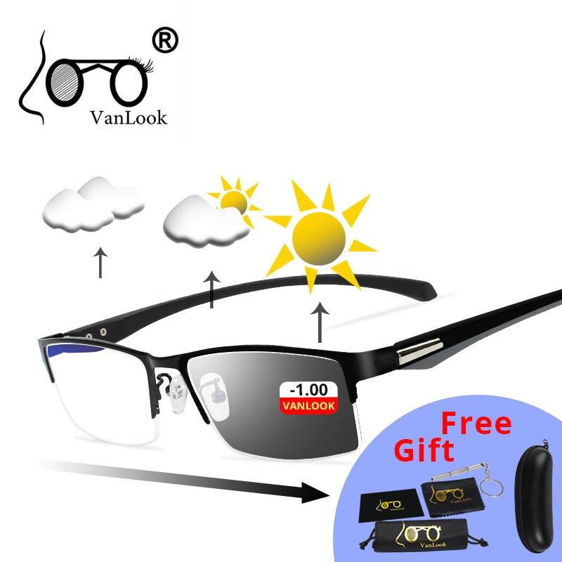 Photochromic Sunglasses Chameleon Lens Myopia Blue Light Blocking Men's Computer Glasses Game For Sight -0.50 -0.75 -175 -5.5 -6