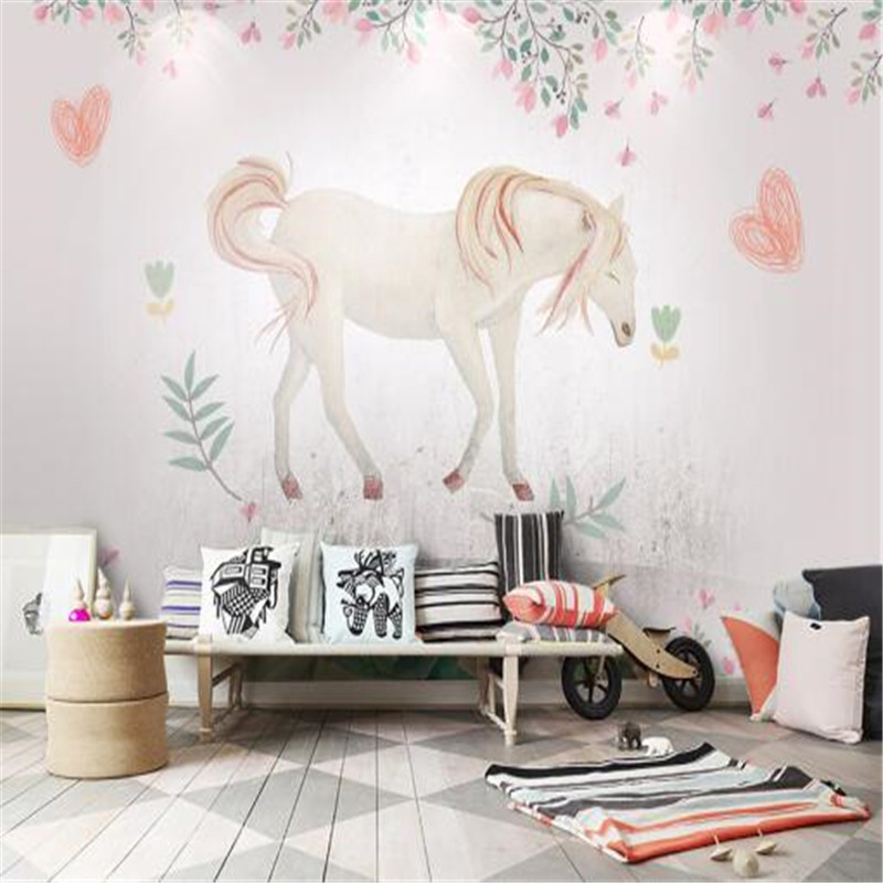 Cartoon Pattern Wallpapers for Walls 3D Home Decor Flowers Murals Custom Photo Wallpapers White Horse for Children Living Room shinehome sunflower bloom retro wallpaper for 3d rooms walls wallpapers for 3 d living room home wall paper murals mural roll