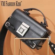Vm moda beijo novo de alta qualidade bolsas femininas couro genuíno mini preto retro caixa saco senhoras crossbody sacos para mulher 2019