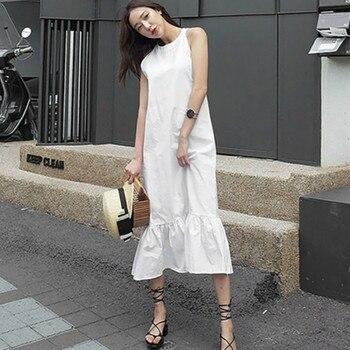 65a410c300e Женское летнее белое хлопковое белье с рюшами длинное женское шифоновое  платье с бретельками сексуальное Vestidos Verano 2018 Robe Femme Ete  Sukienka Jurken