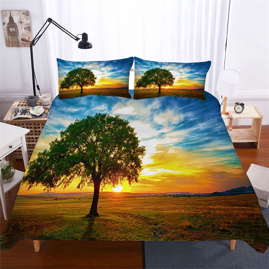 Bedding Set 3D Printed Duvet Cover Bed Set Landscape Tree Home Textiles for Adults Lifelike Bedclothes with Pillowcase #FG04-in Bedding Sets from Home & Garden