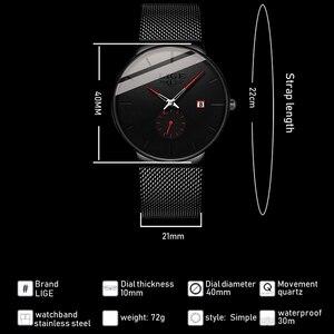 Image 3 - 2019 LIGE męskie zegarki Top marka luksusowa moda zegarek na rękę dla mężczyzn zegar kwarcowy zegar mężczyzna Ultra cienka siatka pasek wodoodporny + pudełko