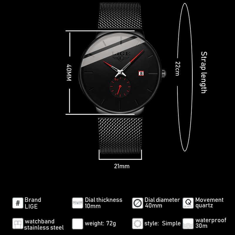¡Novedad de 2019! relojes LIGE para hombre, lujosos relojes de pulsera de lujo a la moda para hombre, reloj de cuarzo, correa de malla delgada Ultra resistente al agua + caja