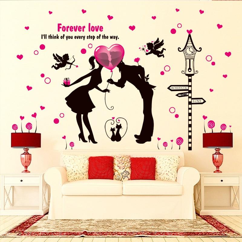 Romantic Lover Wallpaper Wedding Room Couple Wall Sticker Boy Girl