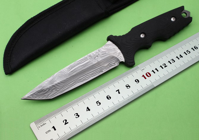 LM 037 Camping Fixed font b Knives b font 5Cr13Mov Blade Rubber Handle font b Hunting