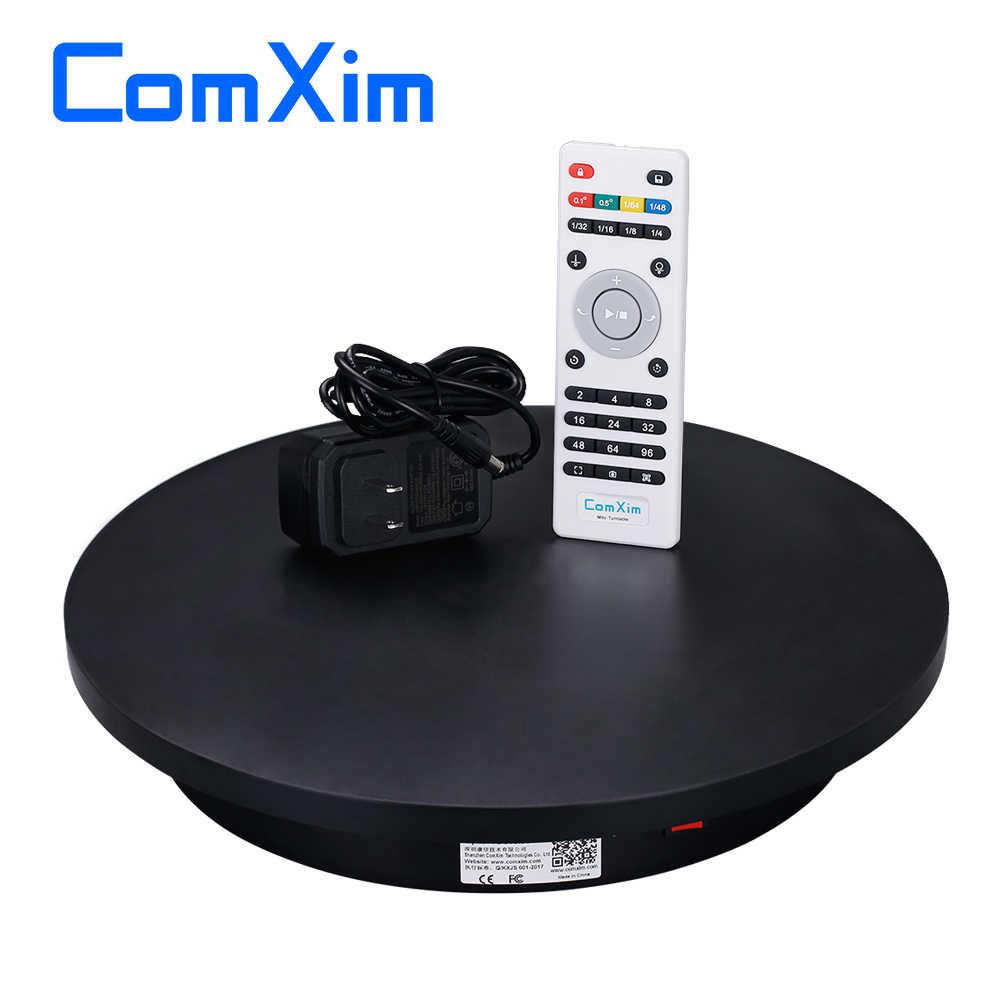 ComXim 40 ซม.สีดำสีขาวรีโมทคอนโทรลทิศทางมุมความเร็ว 360 องศารองเท้าขาตั้งจอแสดงผลแจกัน Swing Turntable การถ่ายภาพ