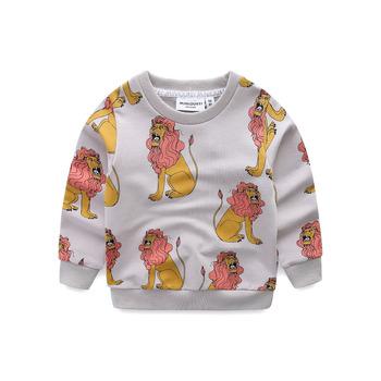 Ins dzieci bluzy z długim rękawem chłopcy dziewczęta dla dzieci dla dzieci Lion drukuj Cartoon T-shirt topy bawełna dziecko odzież 1-8year tanie i dobre opinie Pełna Poliester COTTON YIPEIBAN Unisex Pasuje prawda na wymiar weź swój normalny rozmiar Moda REGULAR