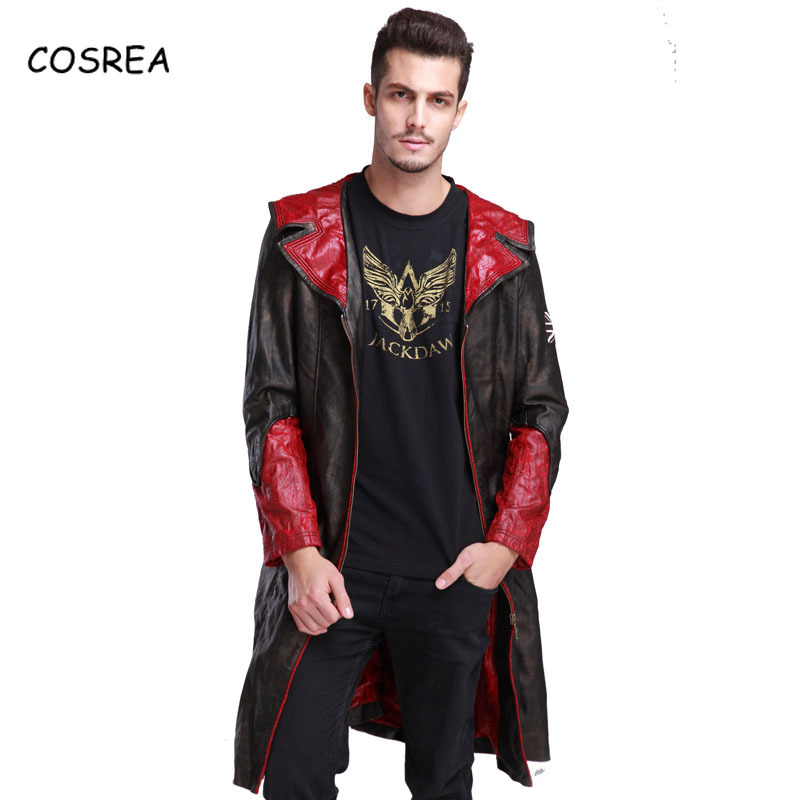 Games Devil May Cry Dante Jacket Cosplay Costumes DMC 5 PU Leather Trench Uniform for Woman Man Winter Halloween Christmas COS