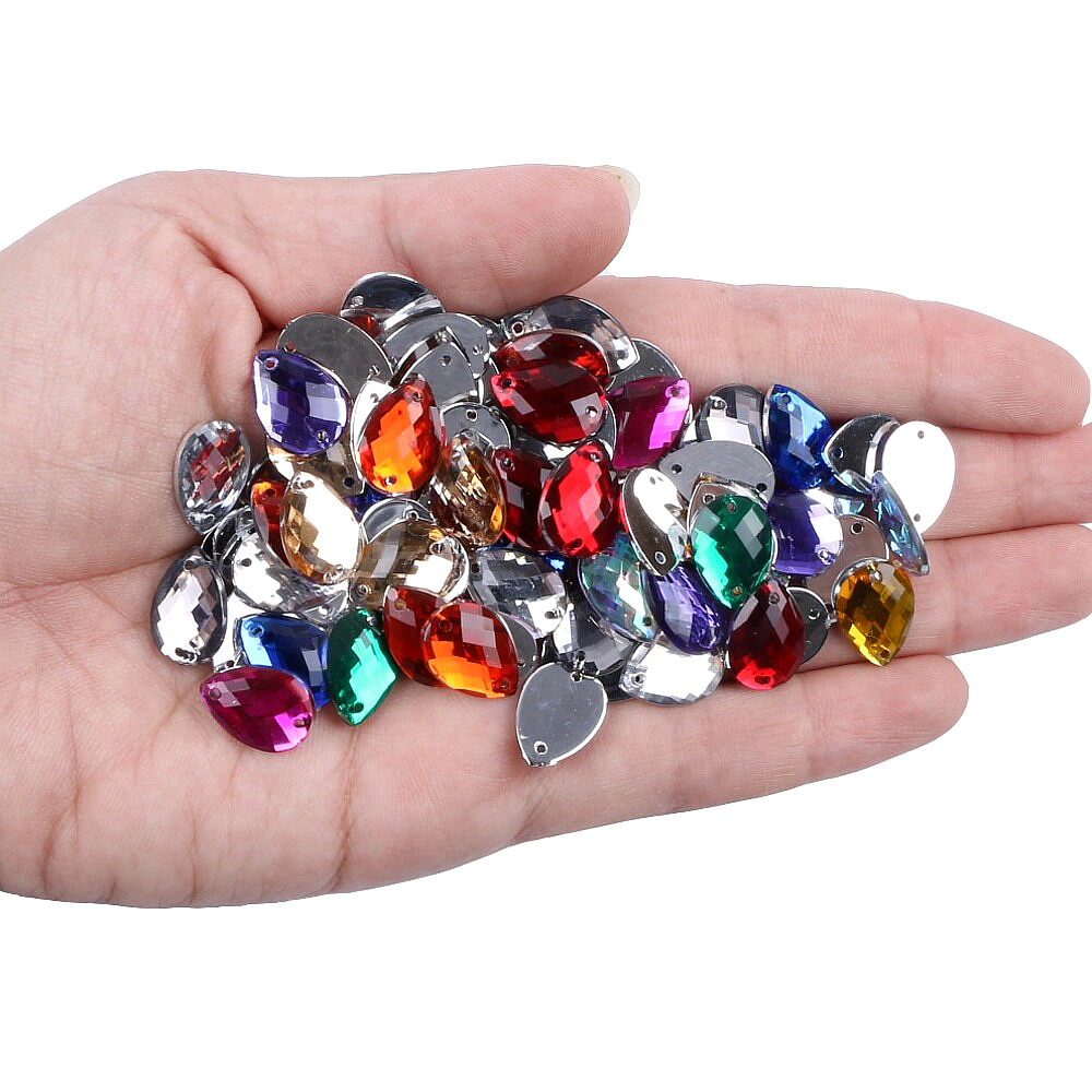 Sunbling 50pcs lot 10 14mm Drop Shape Crystal Sew On Rhinestone 2 Holes Sliver Flatback Acrylic Jewelry For Wedding Clothes in Rhinestones from Home Garden