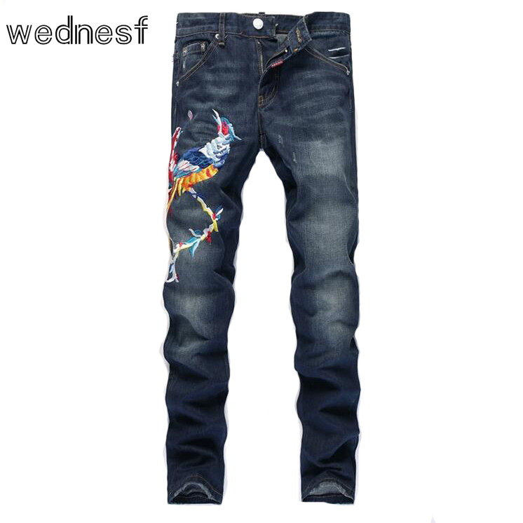 #1916 2017 Phoenix Embroidered jeans mens Fashion Punk High quality Slim Famous brand Mens jeans Whitish mens skinny jeans