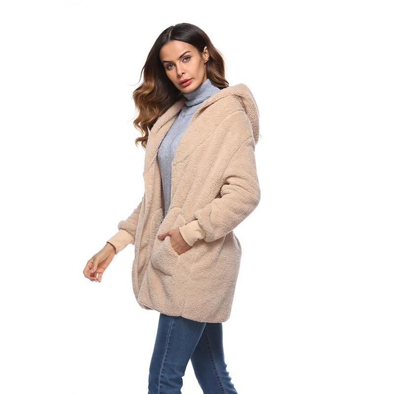 lasperal winter autumn women fashion coat faux fur teddy. Black Bedroom Furniture Sets. Home Design Ideas