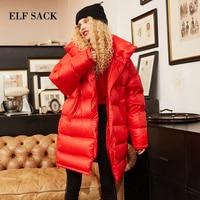 ELF SACK New Winter Woman Coat Solid 90% Duck Down Jackets Long Sleeve Warm Womens Outwear Parkas for Women Winter Streetwear