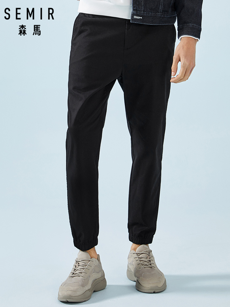 SEMIR Men Pull-on Joggers Men Slim Fit Pants With Elastic Drawstring Waist Taper Led Pants Trousers Soft Cotton Male Fashion