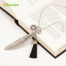 "8SEASONS ""Freedom"" Fashion Tassel Pendant Necklace Feather Necklace Link Chain Silver Tone 73cm(28 6/8″)long Black 1 Piece"