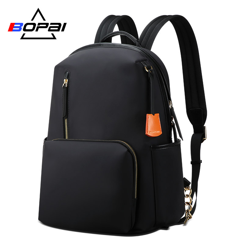 BOPAI Women Backpack Nylon Waterproof OL Business Women Laptop Backpack 14 Inch Ladies Backpack Black Bagpack