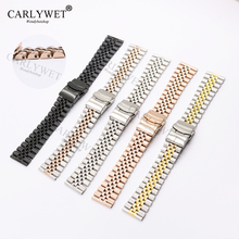 CARLYWET 22mm Two Tone Rose Gold Straight End Solid Screw Links Replacement Watch Band Strap Jubilee Bracelet Double Push Clasp