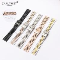 Carlywet 22 ملليمتر اثنين لهجة الذهب مستقيم النهاية الصلبة المسمار links استبدال حزام حزام اليوبيل سوار مزدوج دفع المشبك