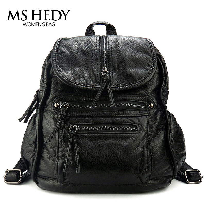 MS HEDY Artificial Leather Backpack Women Bag Packs Female School Bag Girls Designer Preppy Style New