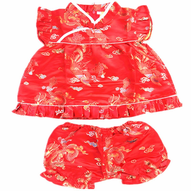 Buenos Ninos Chinese Style Girls Sleeveless Cheongsam Baby Dragon And Phoenix Patterned Cheongsam Cloth Set in Clothing Sets from Mother Kids