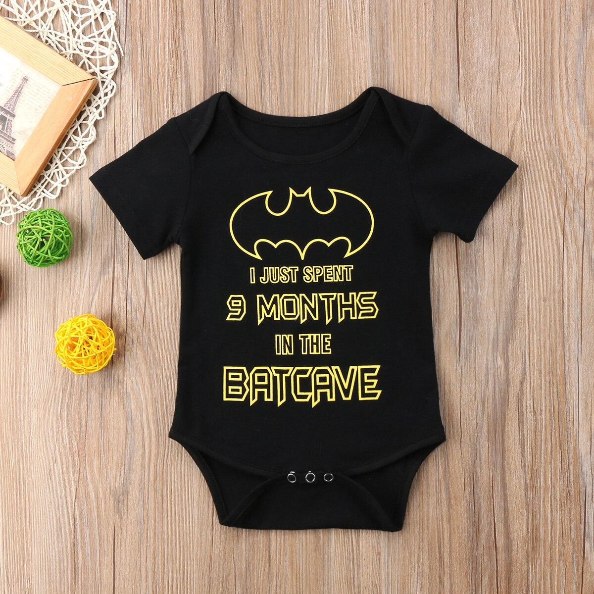 Leuke Pasgeboren Baby Jongen Meisje Batman Romper Speelpakje Zomer Kleding Outfit Zwart Yu