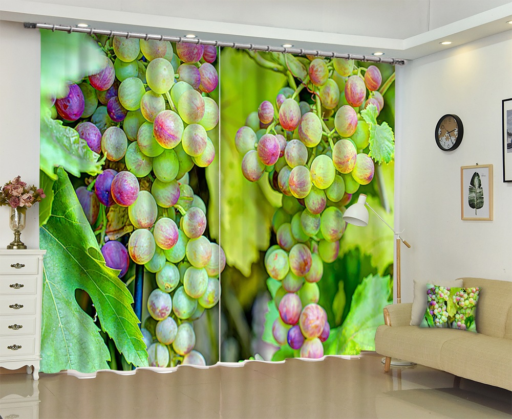 Photo of Grape Tree 3D Curtains Sunshade Window Curtains Custom made Size