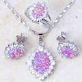 Projeto maravilhoso rosa fogo opal 925 Stamp set Moda jóias de Prata para o Engajamento Da Marca Conjuntos de Jóias PT002