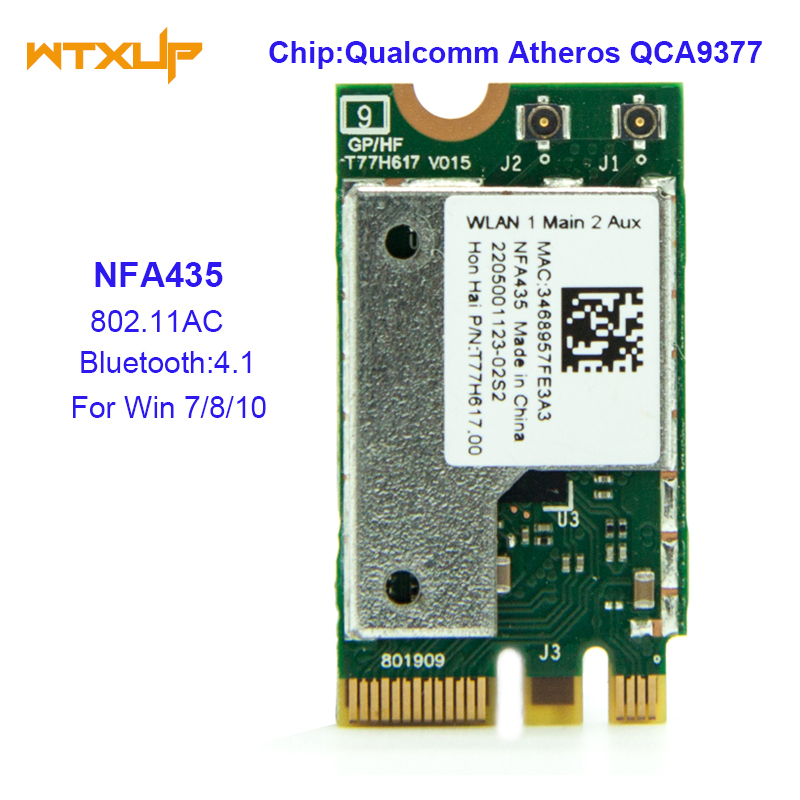 US $8 5 |NFA435 NGFF Wireless AC wifi ADAPTER for QUALCOMM Atheros QCA9377  network CARD 802 11AC Bluetooth 4 1 FOR Win7/8/10-in Network Cards from