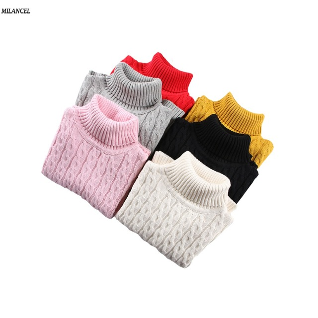 a0d7bd4f MILANCEl 2018 Girls Sweaters Solid Kids Knitwear Solid Turtleneck Boys  Sweaters Brief Style Girls Base Sweaters Boys Clothes