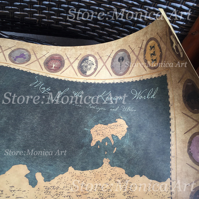 Game of Thrones World Map Vintage Poster