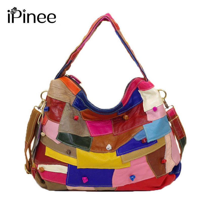 iPinee Brand Genuine Leather Women Handbag Colorful Cowhide Patchwork Women Casual Tote Bag Large Capacity Shoulder Bag rdywbu brand genuine leather tote handbag 2017 women colourful flowers patchwork shoulder bag plaid messenger crossbody bag b293