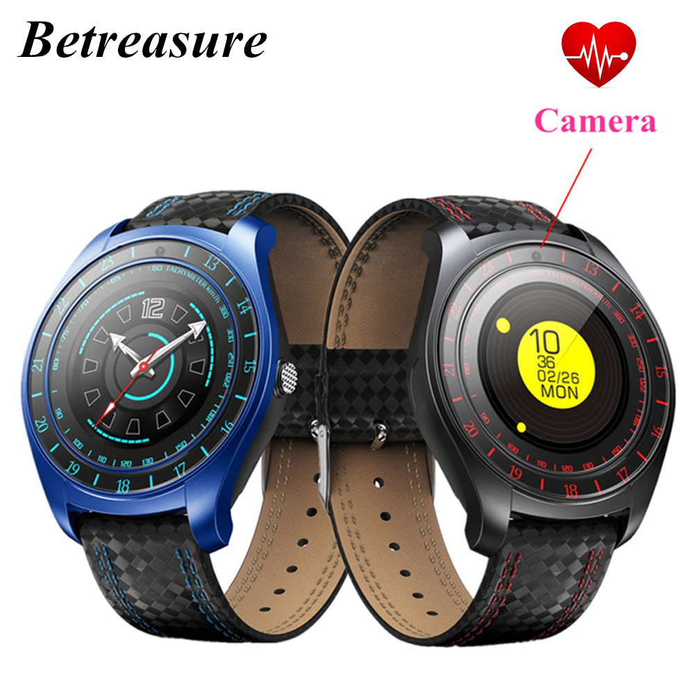 Betreasure BW43 Smart Watch with Camera Bluetooth Smartwatch Fitness Heart Rate Monitor Sim/TF Card Wristwatch for Mobile Phone