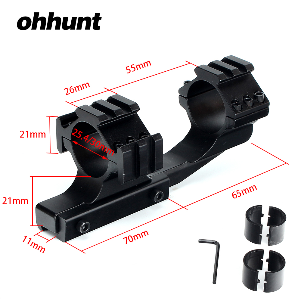 ohhunt Hunting Tactical 1 inch 25.4mm 30mm Offset Rifle Scope 11mm 3/8 Dovetail Rings Mount with Extra Picatinny Weaver Rail
