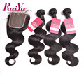 Peruvian Virgin Hair With Closure Peruvian Body Wave With Closure 3pcs Unprocessed Human Hair Bundles With Lace Closure