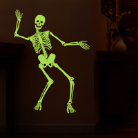 Halloween Night Light Skeleton Dancing Trick Decoration Luminous Wall Stickers