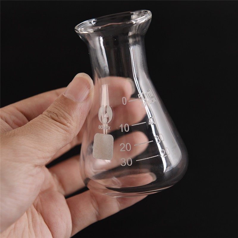 Hot Sale Clear Glass Wide Triangle Glass Flask Conical Flask Erlenmeyer Flask Labratory Equipment 50ml