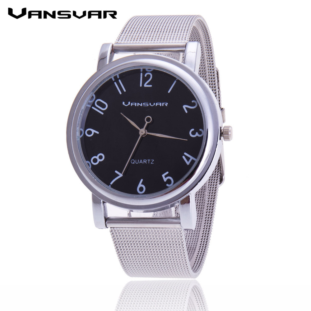 Vansvar Stainless Steel Mesh Belt Silver Women Watch Fashion Wrist Watch Quartz Watch Reloj Mujer Relogio Feminino 1280 stainless steel cuticle removal shovel tool silver