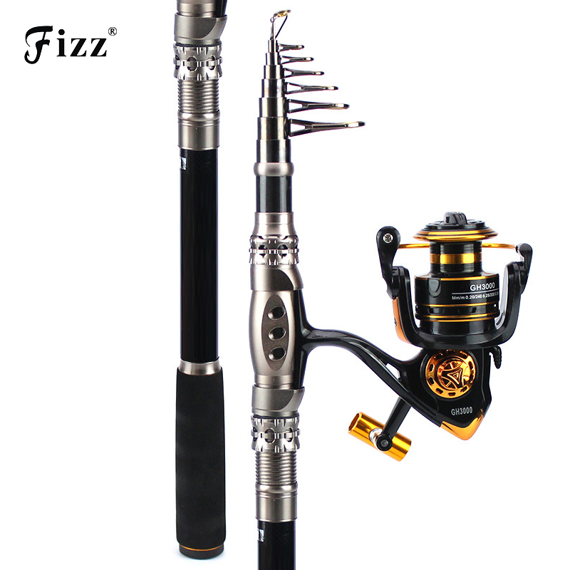 Telescopic Fishing Rod Combo Spinning Fishing Reels Saltwater Rod 1.8-3.3M H Action Telescopic Spinning Rod+3000 Model Coils