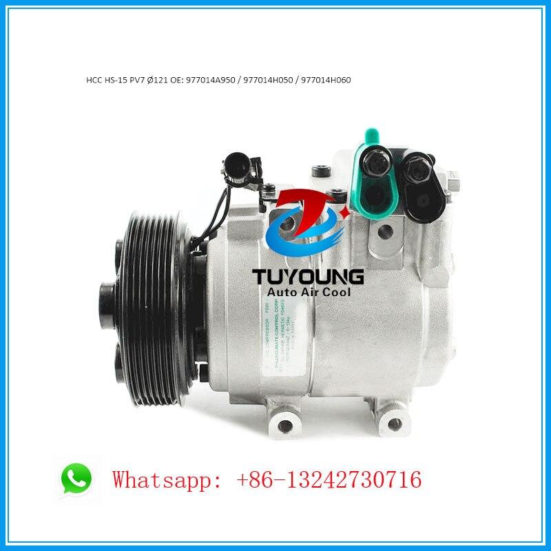 HCC HS15 Auto air conditioning compressor for Hyundai Kia PN# 977014A950 977014H050 977014H060 7PK 121mm air conditioning