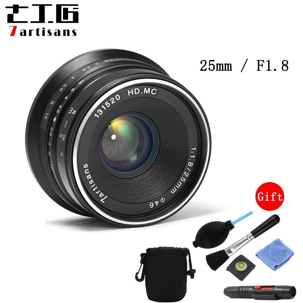 Objectif principal 7 artisans 25mm/F1.8 pour tous les supports Sony E/monture Canon EOS M série unique/montage Fuji FX/monture Olympus M43-in Objectifs pour appareil photo from Electronique    1