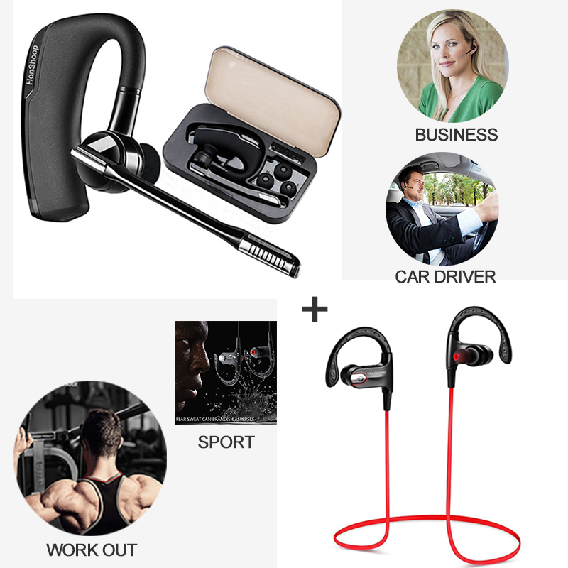 Bluetooth Headphones Car Driver bluetooth earphones Compatible with iPhone+Sport headphones bluetooth Workout Earphones