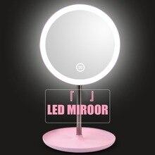 Зеркало с подсветкой для макияжа с естественным белым светодиодным дневным светом, туалетное зеркало, съемное/основание для хранения, 3 режима для espelho lustro LD
