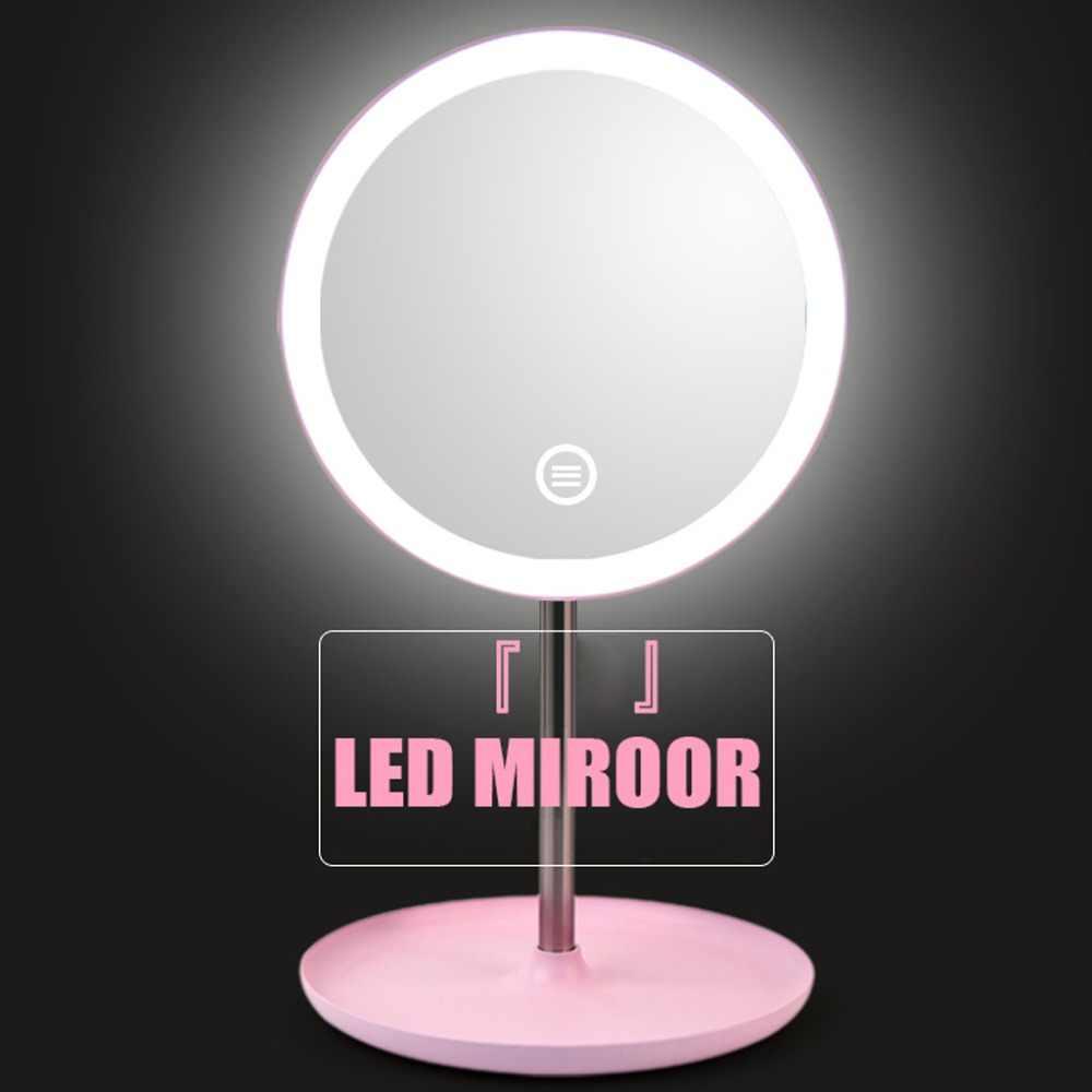 ماكياج مرآة خلفية ضوء مع الأبيض الطبيعي LED ضوء النهار المرآة البالونية انفصال/تخزين قاعدة 3 طرق إلى espelho lustro LD