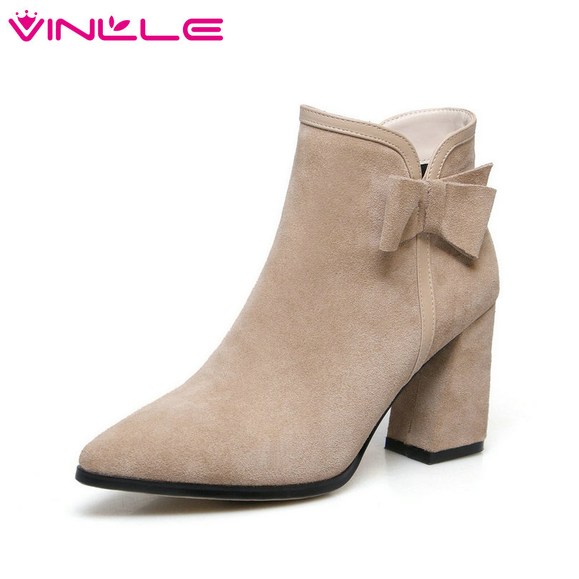 VINLLE 2019 Women Shoes Ankle Boots Square High Heel Cow