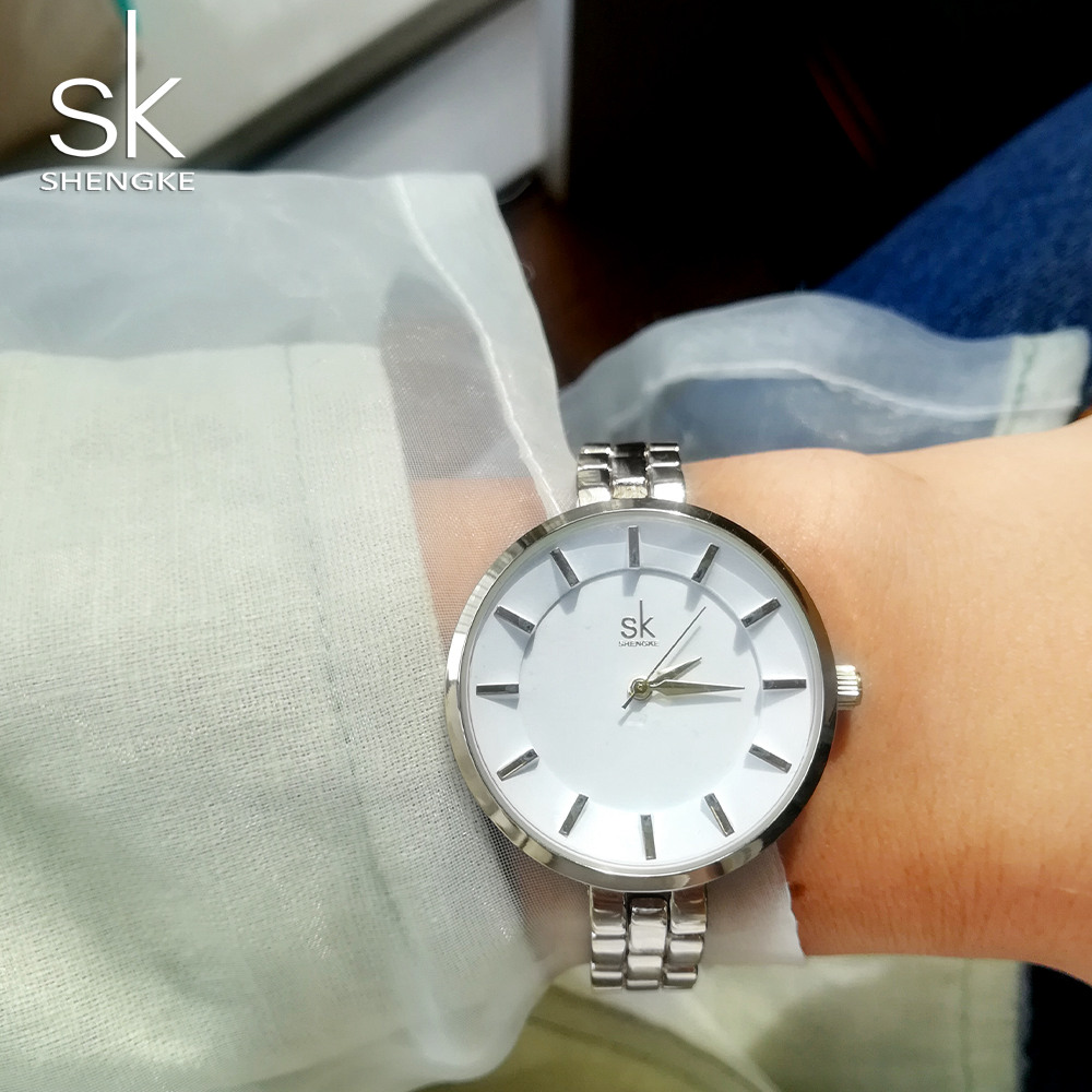 Shengke 3D Simple Dial Luxury Brand Watch Women Geneva Quartz Clock Female Wrist Watches Ladies Fashion Dress Watch 2018 New