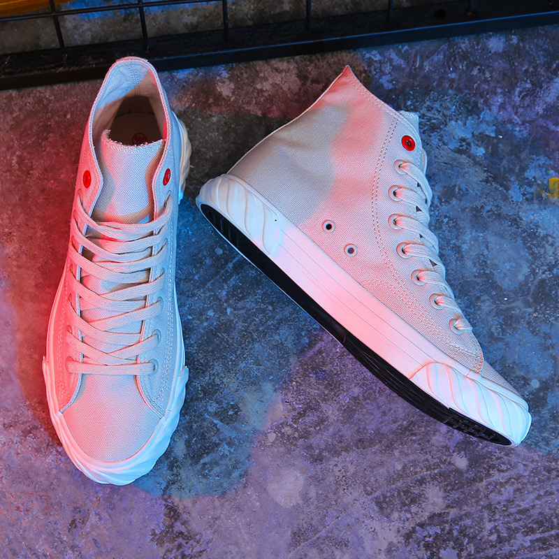 New Canvas Footwear For Men Yellow Beige Casual Footwear Youth High Top Casual Brand Men Shoes New Arrival Walking Shoes Canvas 9