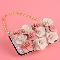 For Xiaomi Mi6 Case Mini Handbag Wallet Case For Xiaomi Mi6 Rose Flower Diamond Rhinestone Cover