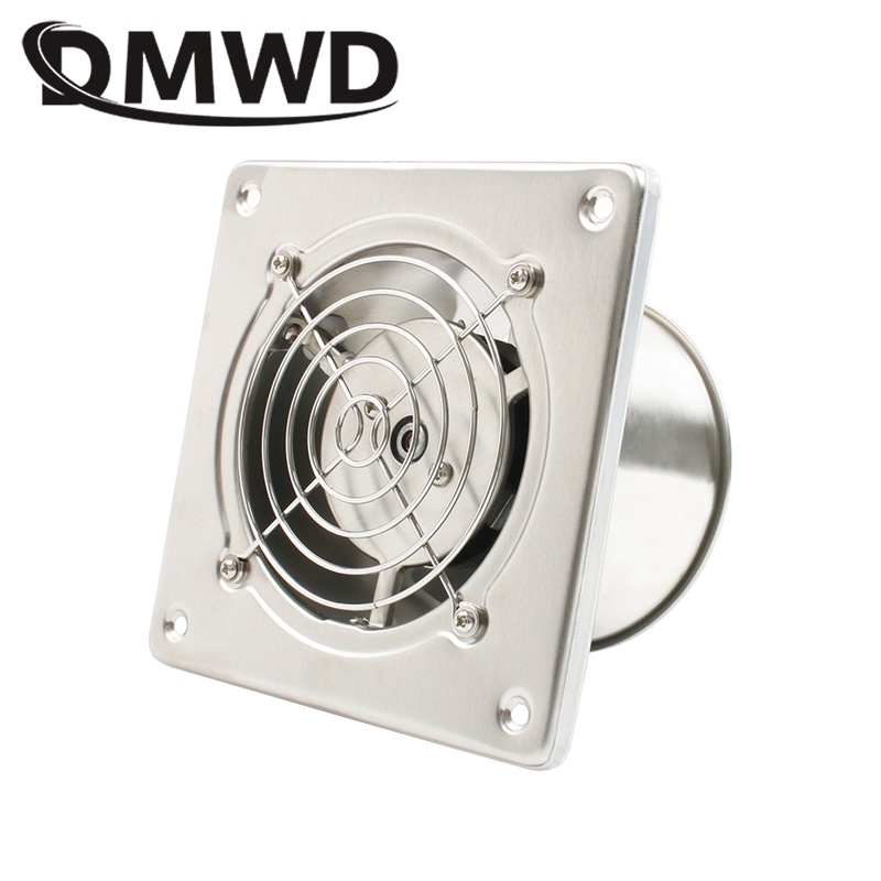 DMWD Stainless Steel 4 Inch Exhaust Fan 4'' Toilet Kitchen Bathroom Hanging Wall Window Duct Fan Air Ventilator Extractor Blower