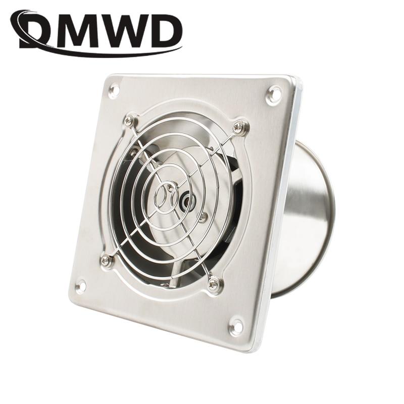 DMWD Stainless Steel 4 Inch Exhaust Fan 4'' Toilet Kitchen Bathroom Hanging Wall Window Duct Fan Air Ventilator Extractor Blower